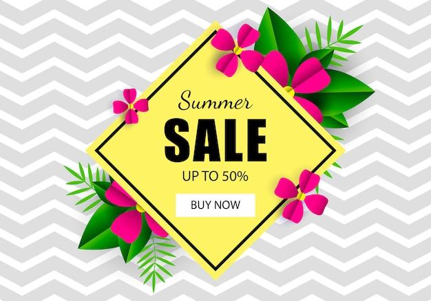 Summer sale banner template flowers. zig zag Premium Vector