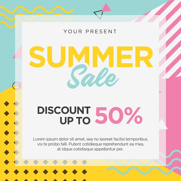 Summer sale banner template memphis retro design Premium Vector