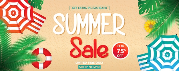 Summer sale banner template with tropical leaves background Premium Vector