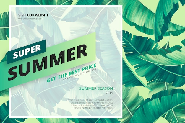 Summer sale banner template Free Vector
