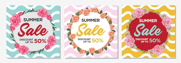 Summer sale banner template Premium Vector