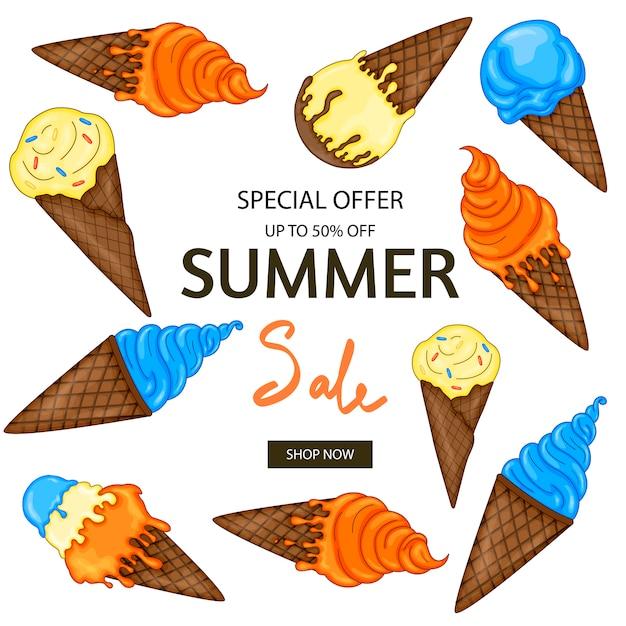 Summer sale banner template Premium Vector