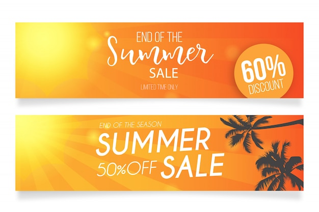 Summer sale banner templates Free Vector