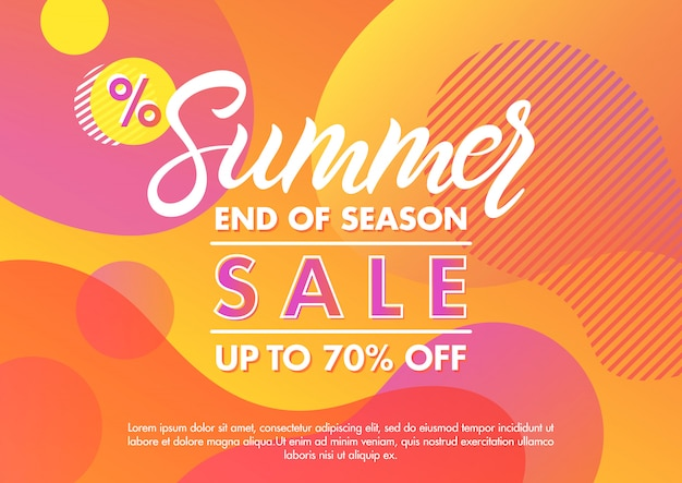 Summer sale banner.unique design card with gradient background,shapes and geometric elements in memphis style.sale season card perfect for prints, flyers,banners, promotion,special offer and more. Premium Vector