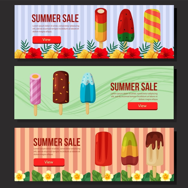 Summer sale banner web set popsicle  illustration Premium Vector