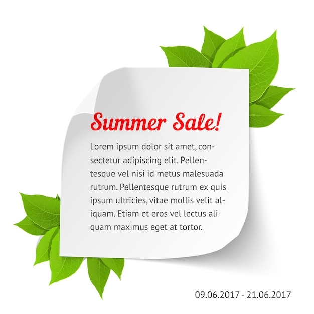 Summer sale banner. white paper sheet with curl corners and leaves. realistic  illustration