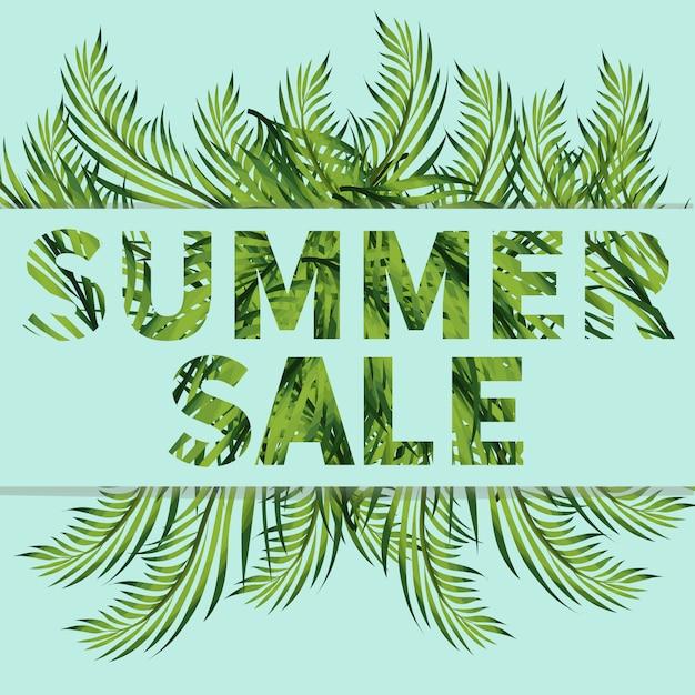 Summer sale banner with banana, fern, monstera branches Premium Vector