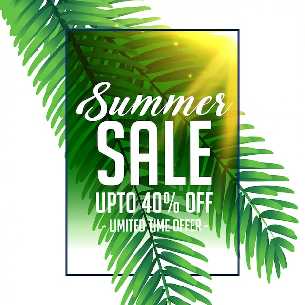 Summer sale banner with green tropical leaves Free Vector