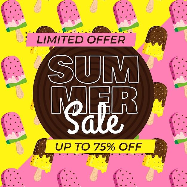 Летняя распродажа баннеров с мороженым Бесплатные векторы