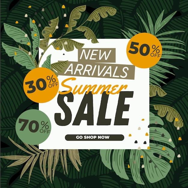 Летняя распродажа баннер с листьями Бесплатные векторы