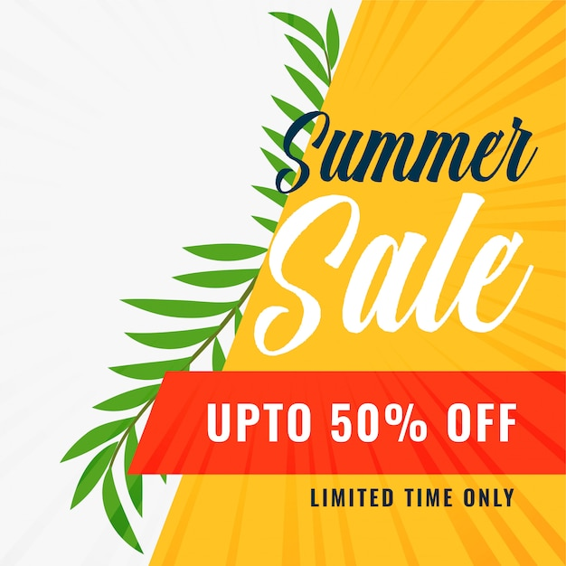 Summer sale banner with offer details Free Vector