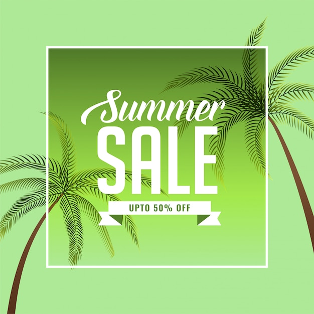 Summer sale banner with palm tree Free Vector