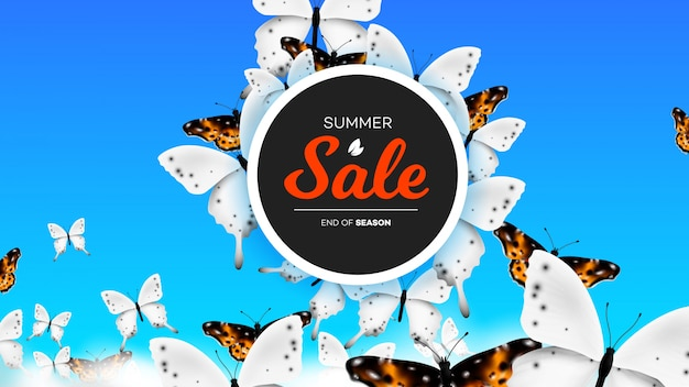 Summer sale banner with realistic butterfly climbing over clouds in the sky. conceptual  background Premium Vector