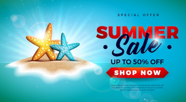 Summer sale banner with starfish on tropical island Premium Vector