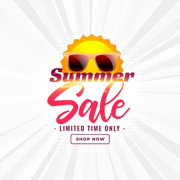 Summer sale banner with sun and sunglasses Free Vector