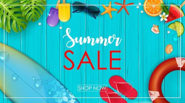 Summer sale banner Premium Vector