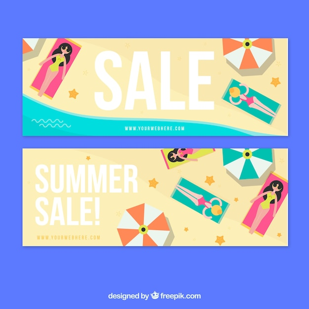 Summer sale banners design Vector | Free Download