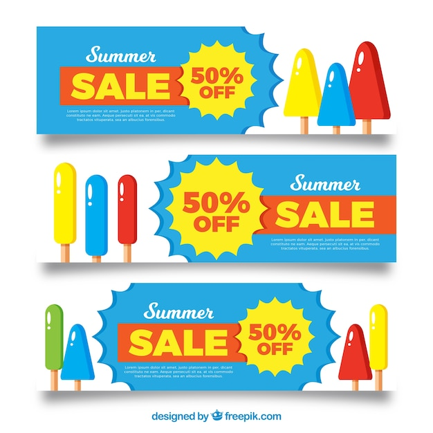 Summer sale banners with ice cream Free Vector