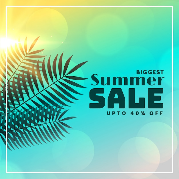 Summer sale beautiful banner with leaves and sunlight Free Vector