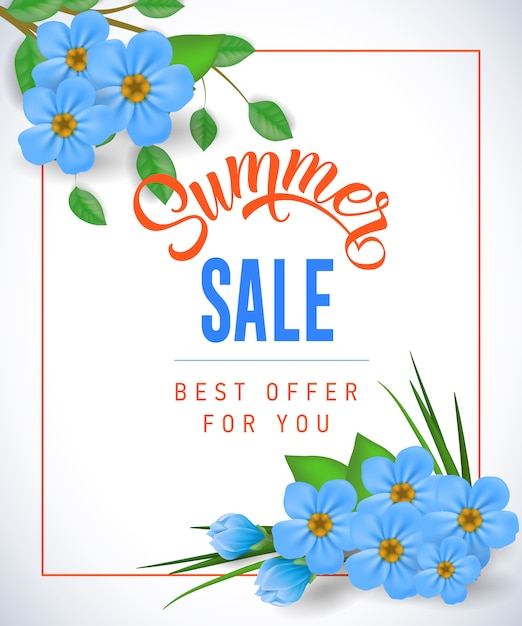 Summer sale Best offer for you lettering.\ Shopping inscription with small flowers in frame