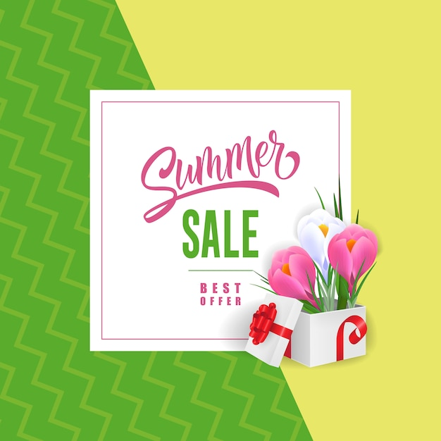 Summer sale best offer lettering with flowers\ in gift box.