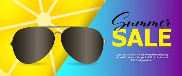 Summer sale blue banner Free Vector