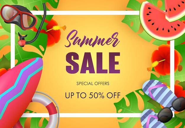 Summer sale bright poster design. sunglasses Free Vector