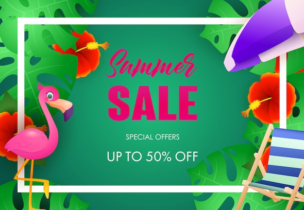 Summer sale bright poster design. tropical plants Free Vector