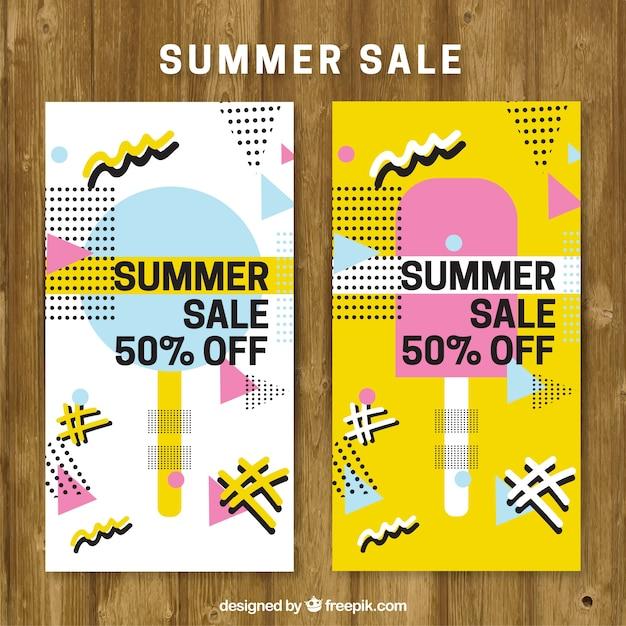 summer sale brochure in memphis style vector free download