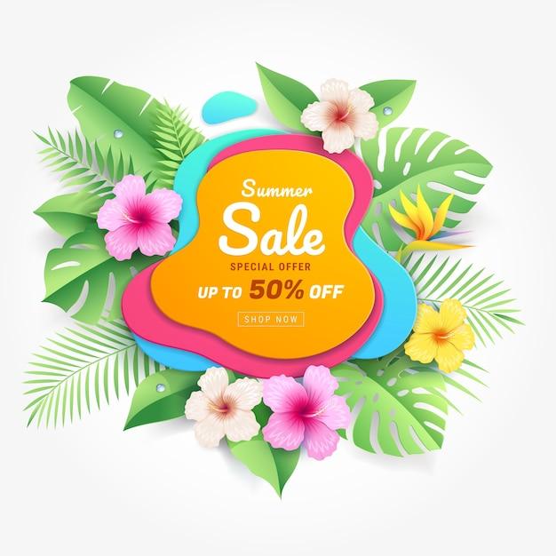 熱帯の葉紙カットスタイルの背景にハイビスカスの花と夏のセールカード Premiumベクター
