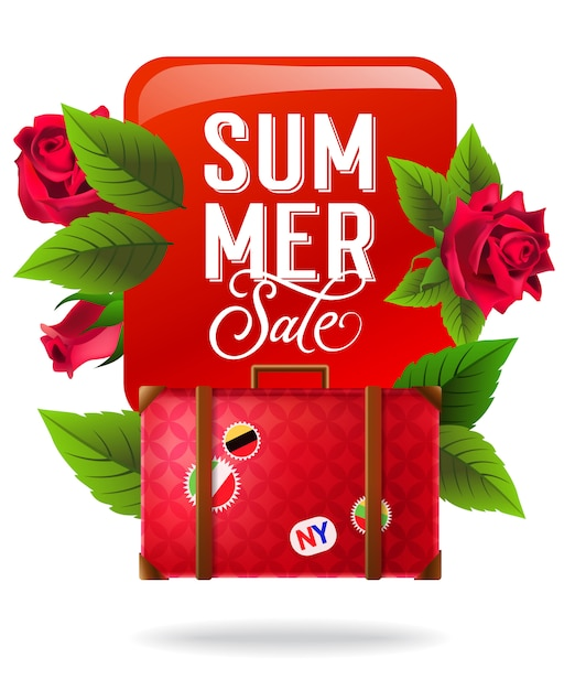 Summer sale, colorful poster with red roses and\ suitcase. Calligraphic text on red square