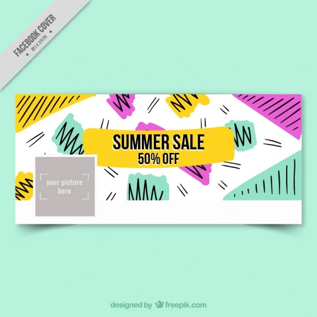 Delightful Summer Sale Cover In Memphis Style Free Vector