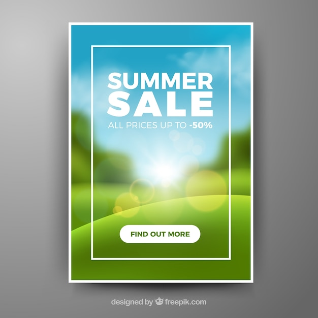Summer Sale Cover Template With Blurred Landscape Free Vector