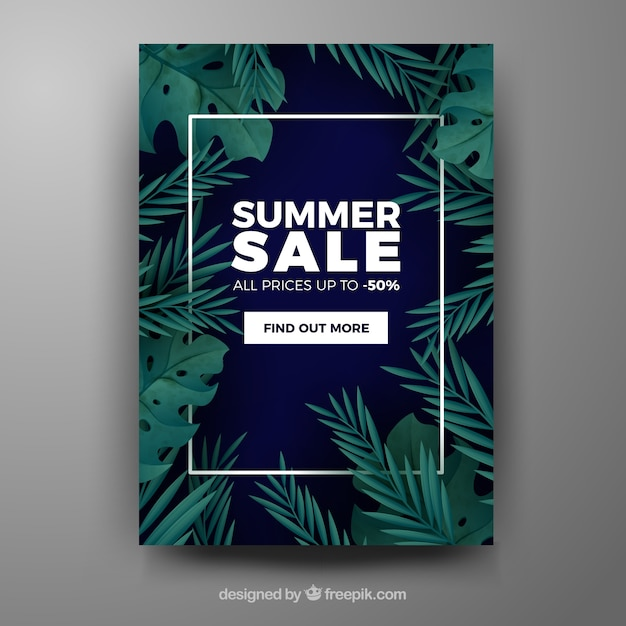 Summer Sale Cover Template With Tropical Leaves Free Vector