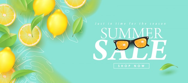 Summer sale design with lemon tropical abstract background layout banners . illustration template. P