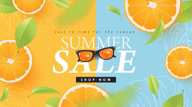 Summer sale design with orange tropical abstract background layout banners . illustration template.
