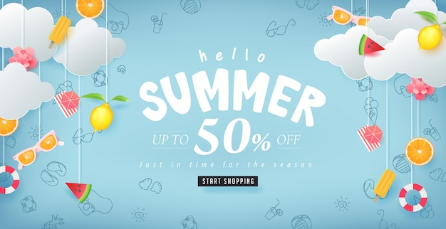 Summer sale design with paper cut summer elements hanging on clouds background. illustration templat