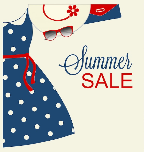 Summer sale design with trendy blue clothes Vector | Free ...