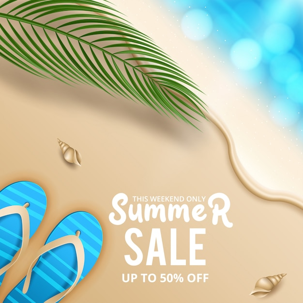 Summer sale discount end of season banner on location beautiful beach background. vector illustration Premium Vector
