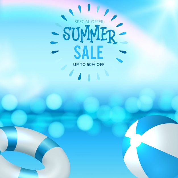 Summer sale discount end of season banner on location beautiful beach background. Premium Vector