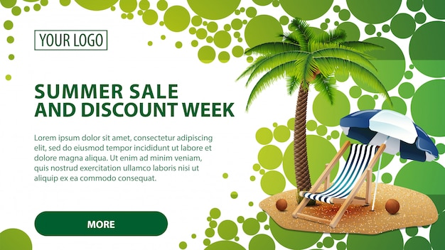 Summer sale and discount week, banner with palm tree and beach chair Premium Vector