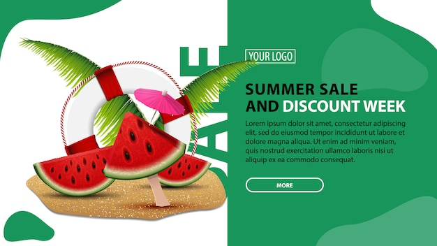 Summer sale and discount week, horizontal discount banner for your website with modern design Premium Vector