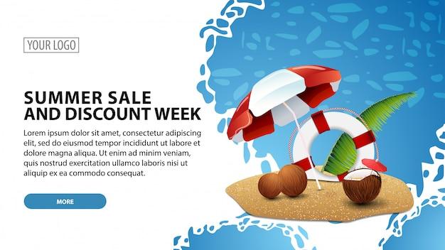 Summer sale and discount week, modern web banner Premium Vector