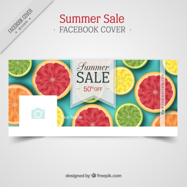 Summer Sale Facebook Cover With Fruits Free Vector