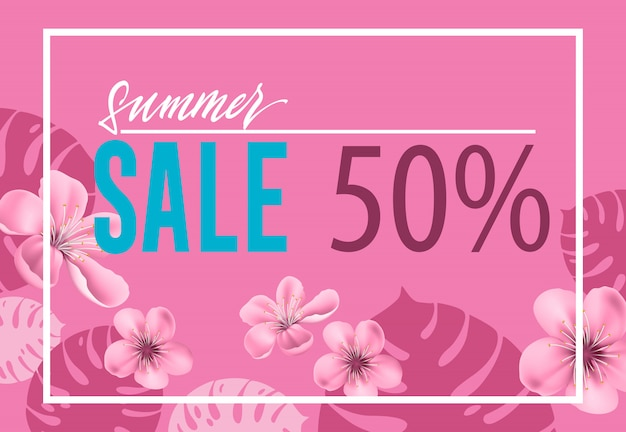 Summer sale, fifty percent pink poster with flowers and leaf shapes. Free Vector