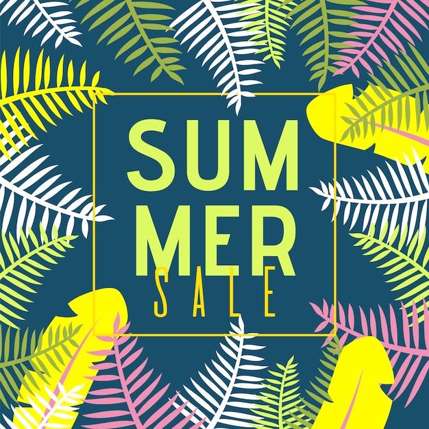 Insegna piana di vendita di estate con le piante esotiche della giungla del fumetto Vettore gratuito