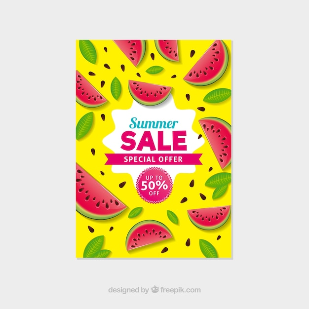 Summer sale flyer in realistic style Free Vector