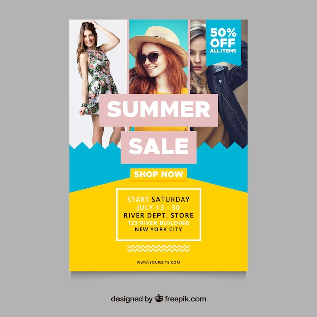 summer sale flyer template with fashion concept image