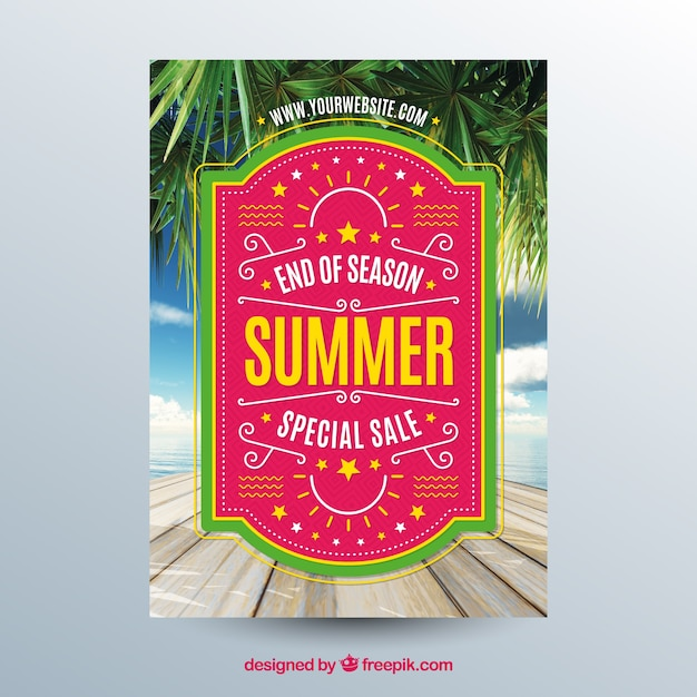 Summer sale flyer template with image of tabletop Free Vector