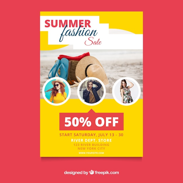 summer sale flyer template with image vector free download